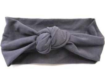 Charcoal Slate Gray Baby Headband - Knotted Headband - Baby Turban Headband - Boho Style - Island Style - Modern Baby - Dark Grey Head Wrap
