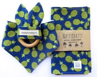 Pineapple Baby Bib - Bandana Bib - Bibdana - Burp Cloth - Teething Ring - Gift Set Options - Pineapples - Baby Gift - Baby Shower Gift