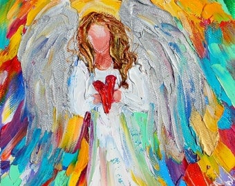 Angel of Love painting original oil 6x6 palette knife impressionism on canvas fine art by Karen Tarlton