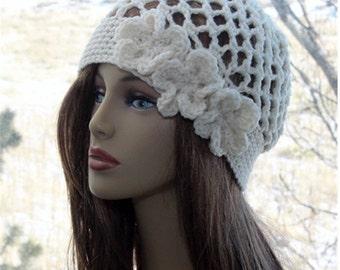Womens Flower Beanie, Crochet  Women Lace Hat , three beautiful flowers hat, ivory cream beanie, spring summer accessories