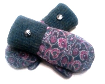 Pink, purple and gray floral pattern, purple, gray, pink, medium mittens, recycled sweaters, women's mittens, fleece lined mittens