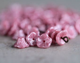 Lustred Pink Bell Flower Czech Glass Beads, Baby Bell Flower Beads,Glass Flower Beads, 5x8mm (30pcs) NEW