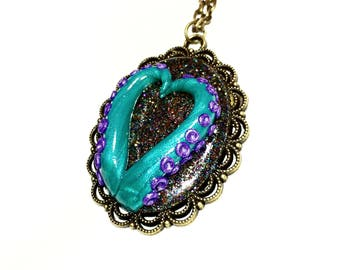 Tentacle cameo necklace. Octopus necklace. peacock blue, purple, multi color. Gifts for her. heart necklace