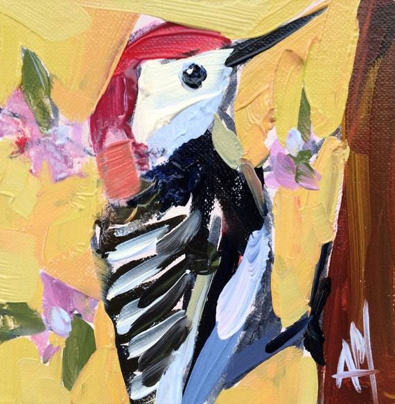 Woodpecker no. 19 Original Bird Oil Painting by Angela Moulton