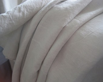 Plain vintage French pure linen sheet.  A great tablecloth or curtain.  Interior projects.