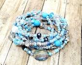 Boho Wrap Bracelet, Gypsy Wrap Bracelet, Baby Blue Bracelet, Bohemian Jewelry, Hippie Wrap Bracelet, Gift for Her, Teen Girl Gift