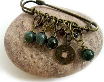 Green Jade Shawl Pin - Kilt Pin - Beaded Brooch - Brass Scarf Pin