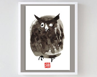 Owl, Wise Owl,  Original Zen Sumi ink Brush Painting, zen decor, child's nursery wall art, japan art, woodland zen decor