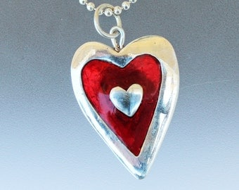 Heart in Silver and Resin Pendant - Heart Jewelry - Heart Necklace - Vanlentine's Day - Love - Red Heart - Heart Pendant - I Love You - love