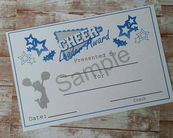 Cheerleading Cheer Leader Award Certificate-Cheer Award-Instant Download-Printable Item-Printable Certificate-Athletic Award