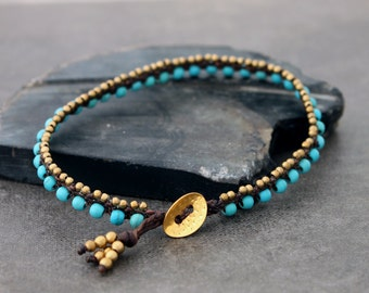 Turquoise Woven Brass Petite Anklet