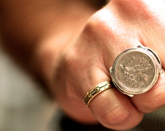 Italian Coin Ring sterling silver coin rings by  Blue Bayer Design NYC 20 Centesimi