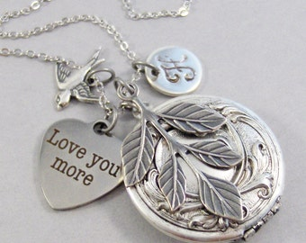 Love You More Locket,Love Necklace,Heart,Bird,Personalized Necklace,Custom Necklace,Monogram,Initial Necklace,Silver Necklace
