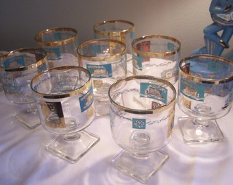 Mid Century Turquiose Barware Glasses (8) Original Box, Ships, Steamboats, Aqua/Gold, 1960s, On The Rocks Glasses, Mixed Drinks