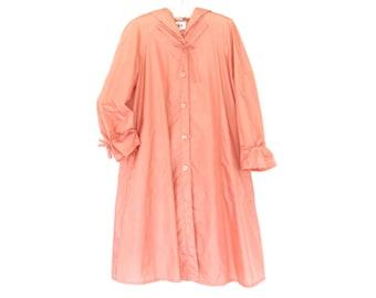 Vintage Raincoat * 80s Swing Coat * Hooded Rain Jacket * Medium - Large