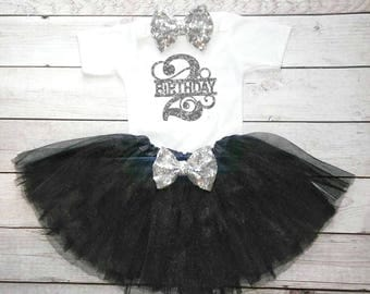 Black and silver Second birthday outfit Elegant Second birthday outfit Classy 2nd birthday shirt Black Tutu 2nd birthday shirt girls Toddler