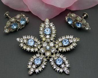 Vintage Bogoff Star Brooch Screw Back Earrings Set Clear & Blue Silver Tone