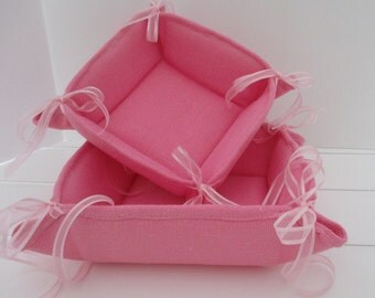 Pink Fabric Tied Basket
