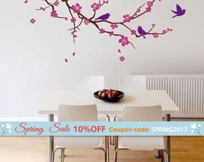 Cherry Blossom Branch and Birds Wall Decal, Cherry Branch Wall Decal Sticker, Cherry BlossomTree Wall Decal for Nursery Home Decor