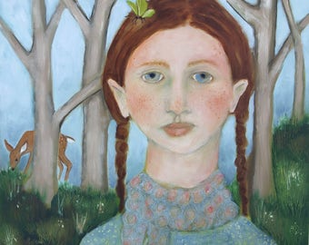 Folk art oil painting portrait girl spring red hair green butterfly deer trees original on wood