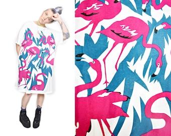 VTG 80s Hot Pink Flamingo Tropical Palm Tree Oversized Slouchy Beach T Shirt Mini Dress Tunic O/S