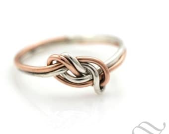 Tie the Knot - A mixed metal figure 8 Ring - Sterling Silver and 14k rose gold