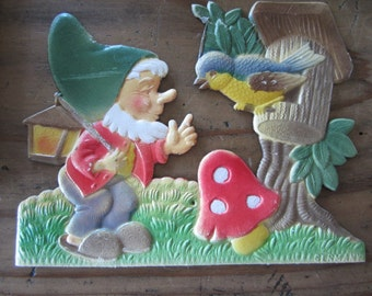 Vintage Gnome and Bird Molded Paper Decor Made In Germany