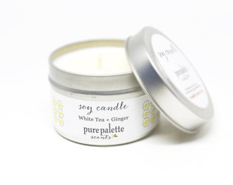 Soy Candle White Tea & Ginger -Travel Tin Candle -  / 4 oz. Scented Candle
