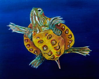 Original oil painting of baby pond turtle.