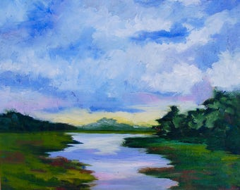 Modern Impressionist Original Oil South Carolina Marsh Landscape Painting by Rebecca Croft