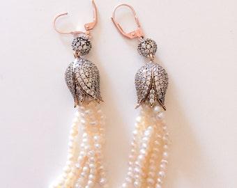 Tulip Jewelry, Pearl Stone, Pearl Tassel Earrings Long dangle Earrings Zirconi Stone