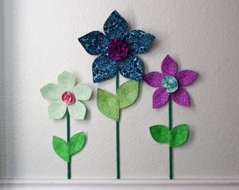 fabric wall flower, nursery/ girls room wall decor, blue fabric wall flower, baby shower gift