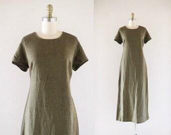 olive linen market dress