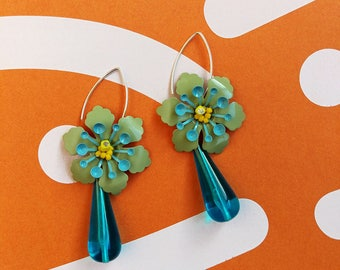 Blue Drop Earrings, Blue Green Statement Earrings, Flower Dangle Earrings, Sterling Silver Earrings, Bridesmaid Earrings