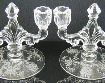 Pair of Heisey Orchid Etch No. 1507, Trident Candlesticks