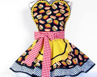 NEW Ready to Ship Diner Waitress Apron Cheeseburgers and Fries and Hot Dogs