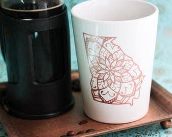 Georgia Coffee Cup - Georgia Coffee Mug - State Pride Gift - Mandala Gift - Georgia Mug - Coffee Gifts- State Coffee Cups - State Cups