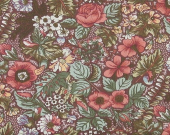 Dusty Pink, Yellow, Blue, Ivory and White Floral on Brown 100% Cotton Calico Fabric for Sale from Marshall Dry Goods, MDGCountry-010Brown
