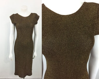 Vintage Bronze Metallic Knit Curve Hugging Dress