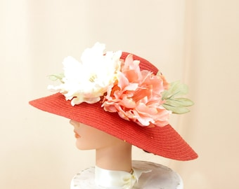 Burnt Orange Hat, Floral Hat, Orange Derby Hat, Floppy Hat, Sun Hat, Church Hat, Wide Brim Hat, Fashion Hat, Beach Hat, Summer Hat