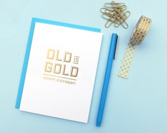 old is gold gold foil birthday card