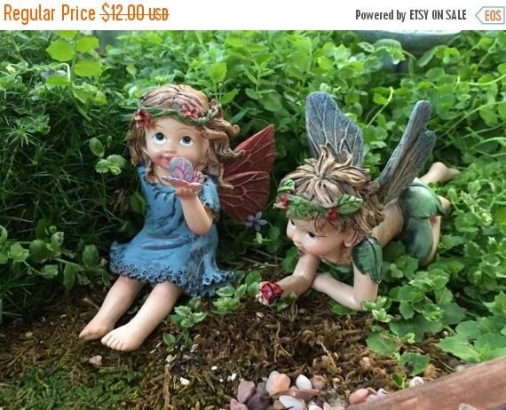 SALE Fairy Boy and Girl Flower Crown Figurines, 2 Piece Set, Fairy Garden Accessory, Garden Decor, Toppers