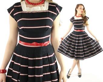 Vintage 50s Pleated Dress Black White Striped Sailor Full Pleated Skirt 1950s Medium M Jerell Jr Short Sleeve