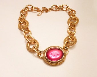 Vintage Monet Designer Necklace with Hot Pink Cabochon 16 Inch Gold Chain  1980s Modernist Choker