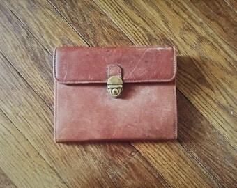 Vintage Brown Leather Organizer Purse