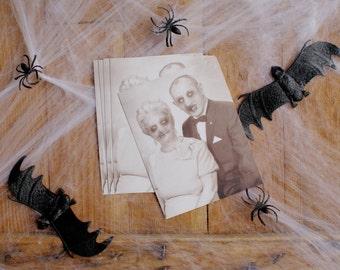 Set Of Five Zombie Couple Postcards