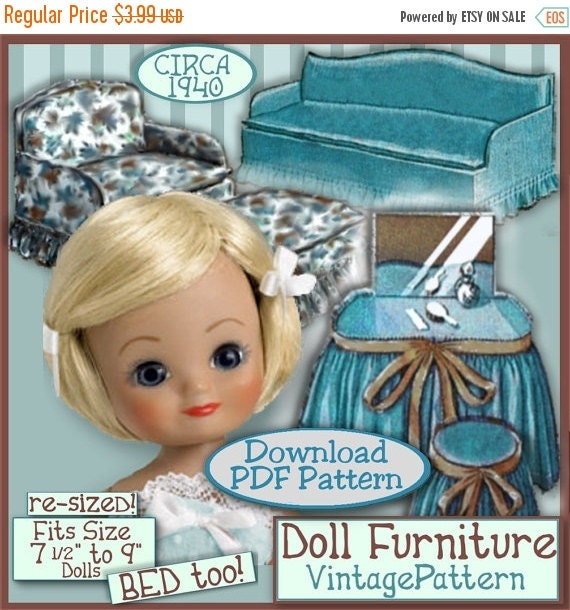 "sale BETSY's Fun Furniture Pattern 7 1/2""  to 9 Inch Dolls Vintage e Pattern pdf  FITS  Riley, Ginny & Tiny PATSY patsyette too"
