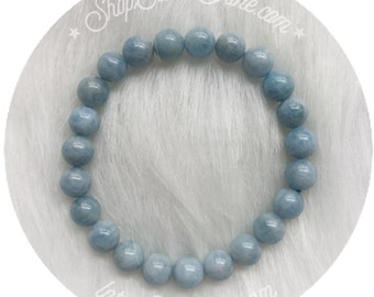 Aquamarine bracelet, stretch beaded bracelet, 8mm beads