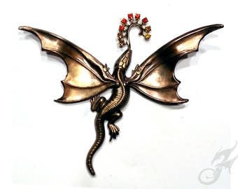 DRAGON PIN Antique Gold w/ Rhinestones, Fantasy, Art Nouveau, Victorian Steampunk, Game of Thrones, Tack Pin, Purse Hat Lapel, Brass Pin0117