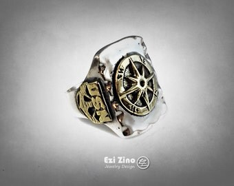 Mexico Mexican Rockabilly Style USN compass signet ring Silver Sterling 925